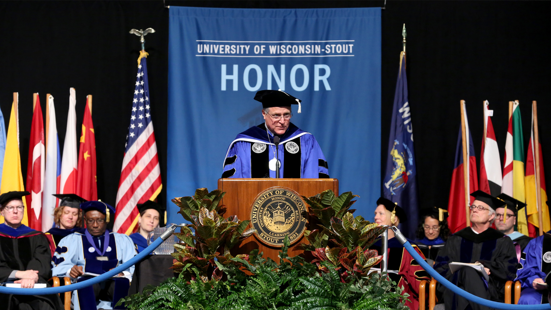 Spring Commencement is held in Johnson Fieldhouse Saturday May 9, 2015. Pictured is Chancellor Bob Meyer.(UW-Stout photo by Brett T. Roseman)